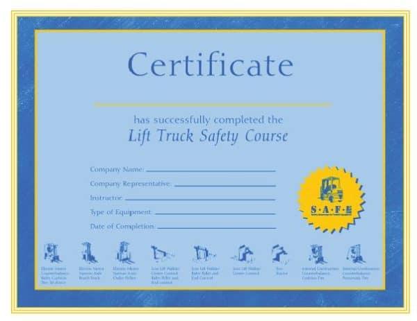 SAFELIFT Certificate
